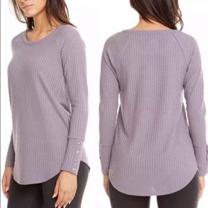 Chaser Waffle Knit Wisteria Purple Button Thermal